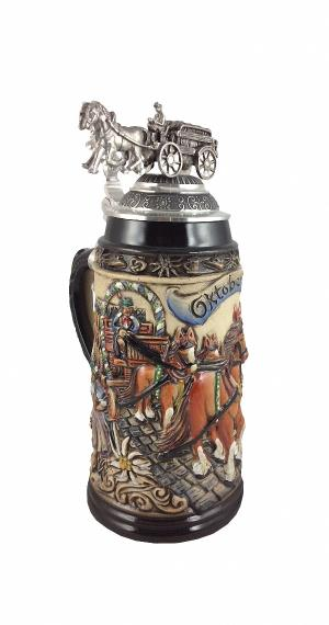pewter lid and pewter eagle Z/öller /& Born German Beer Stein Germany 0.5 liter tankard with ptd yellow beer mug ZO 1746//9913